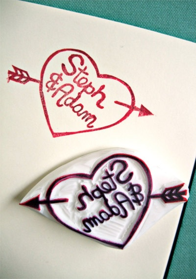 CUSTOM MADE  hand carved rubber stamp anniversary by talktothesun, $30.00
