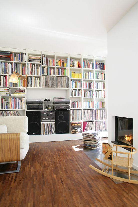 Shelving. Living space. Händelallee 47 House, by dax_I. Berlin. #living_room