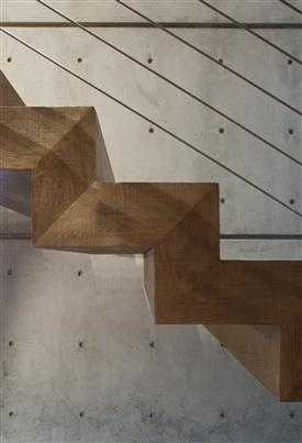 Folded plate staircase comprised of thick wood risers and wooden treads, shown in profile.