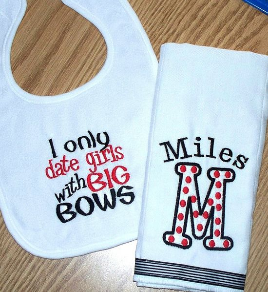 Baby Boy Gift Set  I only date girls with Big by LittleTexasBabes, $22.00