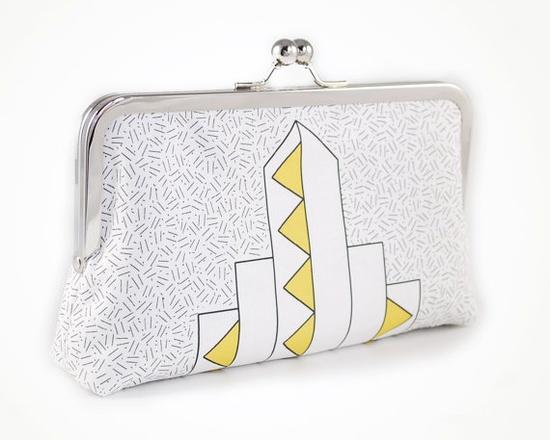 Art Deco clutch with yellow triangles / sirtom