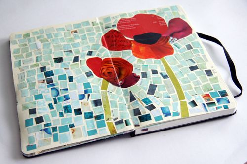 cut-up magazine collage. i love poppies