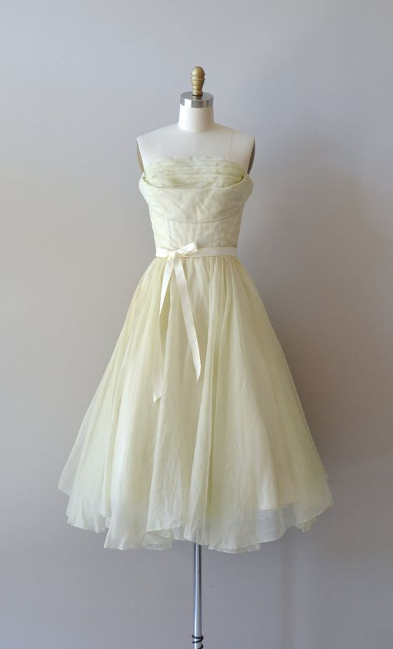 vintage 1950s dress / silk chiffon 50s dress / Inflorescence dress