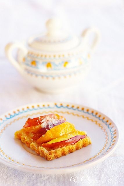 A fresh, sweet, darling little slice of Peach Coconut Tart. #food #cooking #beautiful #foodphotography #baking #fruit #tart #peaches #coconut