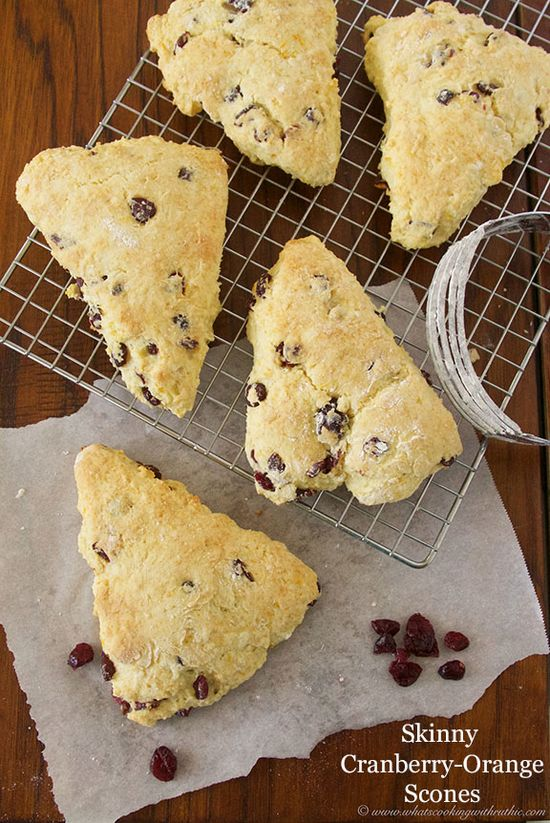 Skinny Cranberry-Orange Scones are an easy and deliciously healthy breakfast!  by www.whatscookingw... #recipes #breakfast