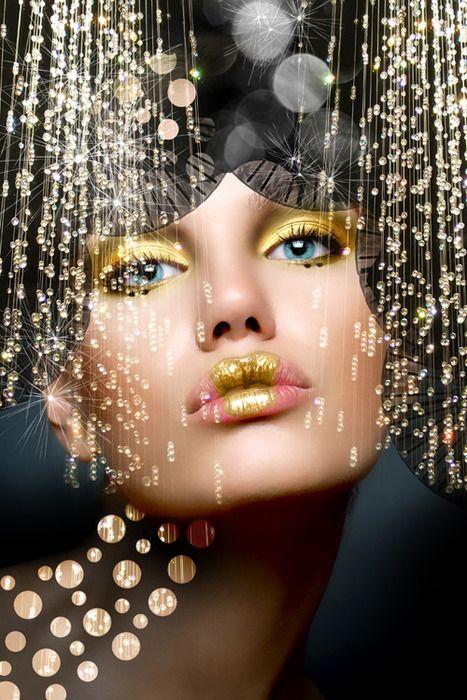 .gold makeup looking stunning