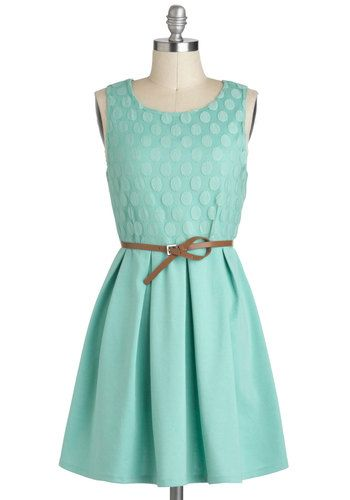Refine Mint Dress - Solid, Belted, Casual, A-line, Sleeveless, Short, Pastel, Mint, Graduation, Cotton