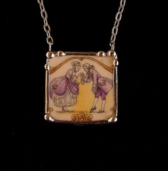Antique Colonial Courting Couple broken china jewelry necklace made from a broken plate