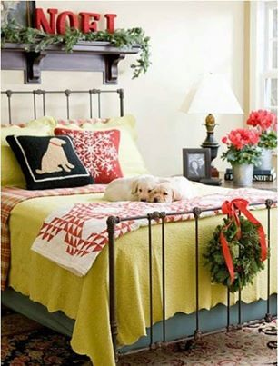 Bedroom Christmas Decor..(simple and snuggly), especially with the two furballs at the foot of the bed... Ashley Carol Home & Garden Cornelius NC 704 892 4743 mailto:ashleycaro...