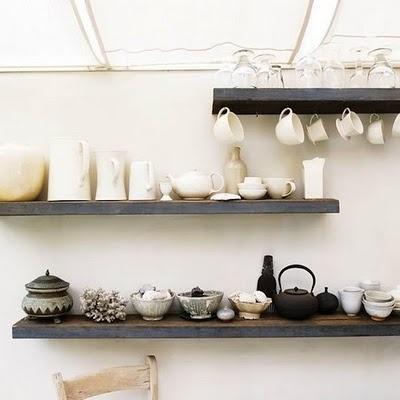 KITCHEN: Open shelves.