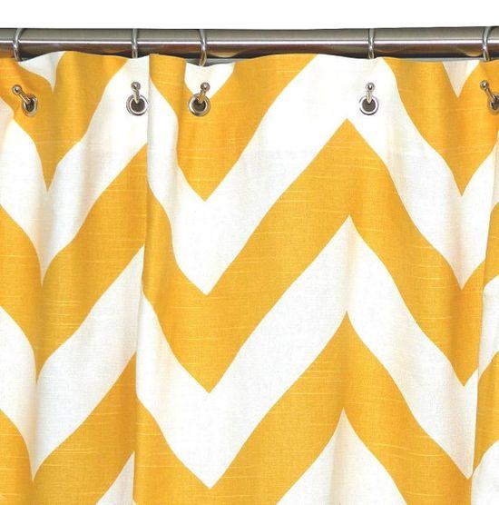Shower  Curtain Chevron 72x72 Yellow and White Zig Zag.