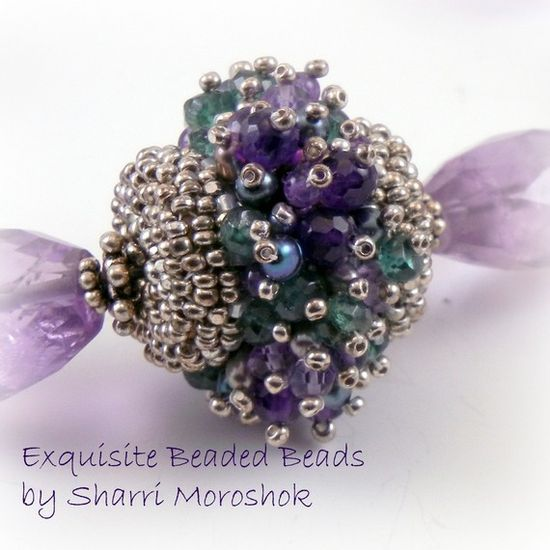 """Cover a wood base bead with glass seed beads.as a base for a dense layer of gemstone spikes tipped with tiny seed beads.  App. 1"""""""