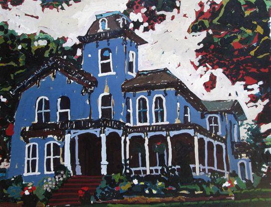 Blue Home Original Larger Landscape Painting on Paper by Paintbox, $200.00