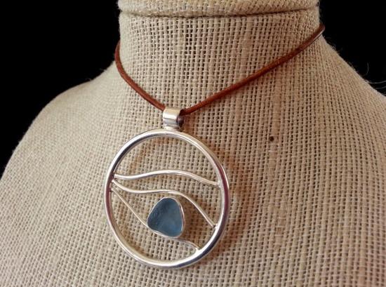 Sea Glass Pendant, Sea Glass Necklace, Ocean Wave Pendant, Large Sterling SIlver Pendant, Sea Glass Jewelry, Beach Glass Jewelry