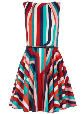 Dorothy Perkins  Multi stripe flare belt dress