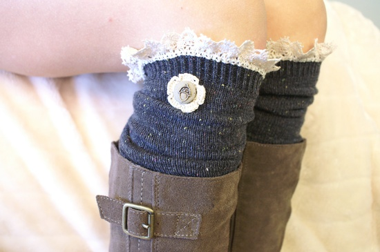 over the knee boot socks w/acorn button