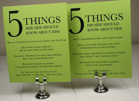 Cute!  5 things her side should know about him / 5 things his side should know about her