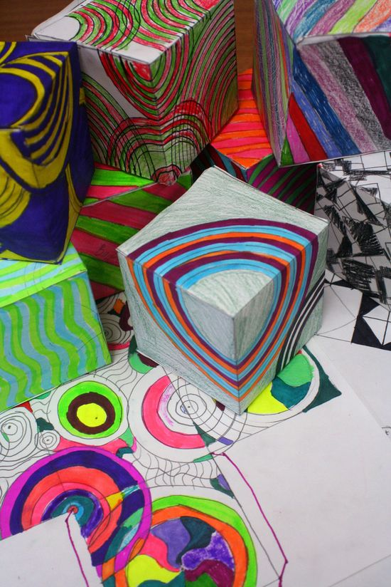 Op Art Cubes. Decorate them as 2D designs & see how they appear to change when folded into boxes. Sub day
