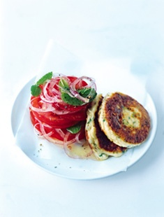 ricotta fritters + tomato, mint and onion salad