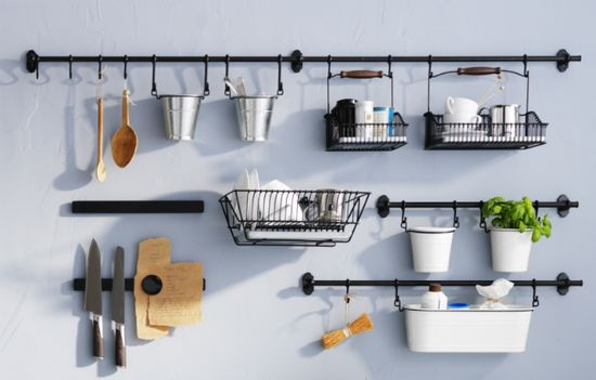 FINTORP kitchen accessories can organize in style and free up your counter space...thinking this will replace peg board in the homeschool room.