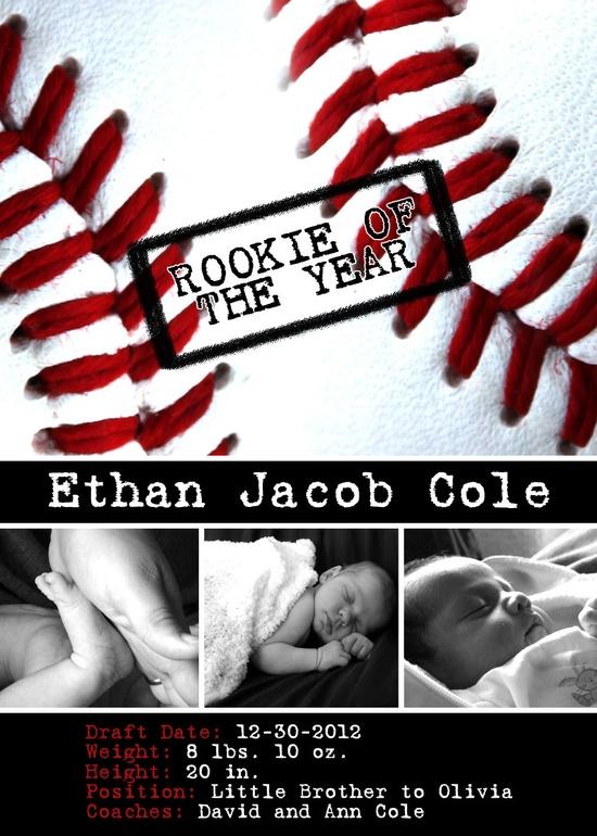 Printable baseball baby announcement.