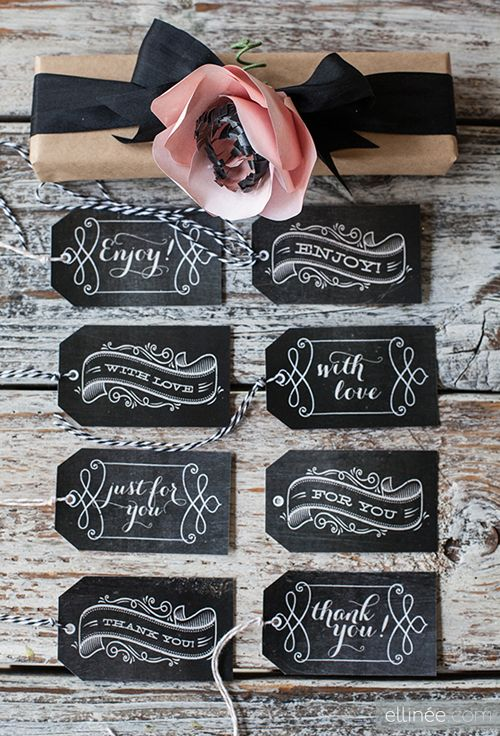 These chalkboard tags are classy and sweet...and perfect to have on hand...for just about any occasion!! #chalkboard
