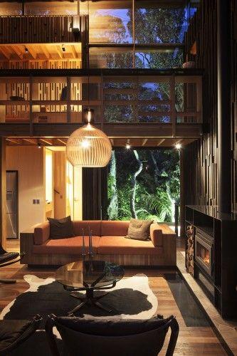 double-height mezzanine connection interior house design