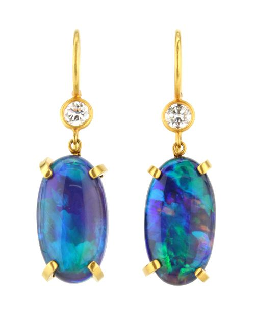Lightning Ridge Opal and Diamond Drop Earrings