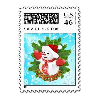 Cute Baby Snowman Crystal Snowflakes Postage