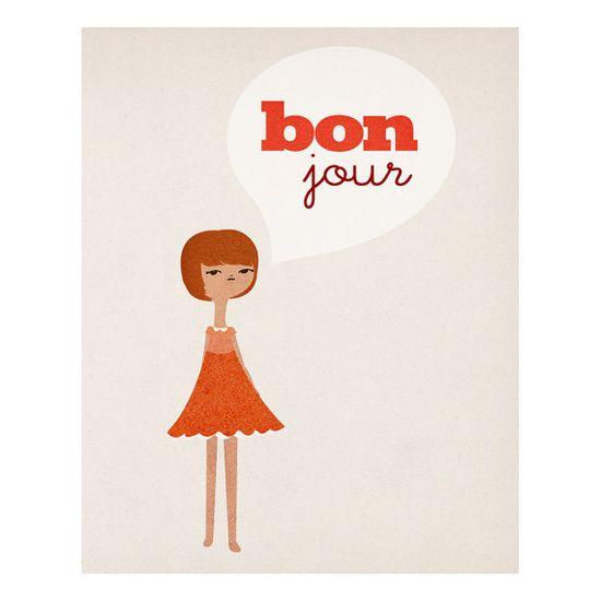 Bonjour  8 x 10 Art Print by LoveSugar on Etsy, $25.00