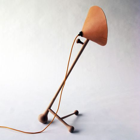 // Leather, wood and linen lamp by David Ericsson.