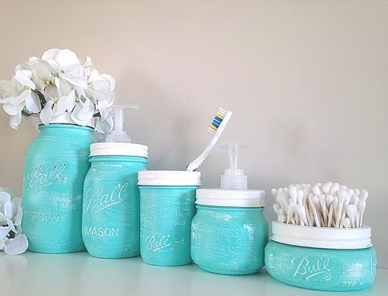 Painted Mason Jars Home Decor Bathroom Decor Bathroom  Oh my gosh I'm gonna do this. All matching. And I like having the metal band painted and used as an accent without the lid being on.