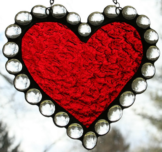 Stained Glass Valentines Day Heart. $22.00, via Etsy.