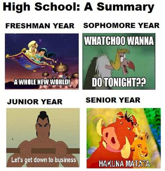 High school summed up by Disney :)