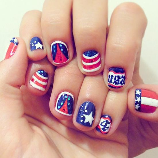 pretty_squared's festive tips. Show us your 4th of July-inspired nails! Tag your pic #SephoraNailspotting to be featured on our social sites.