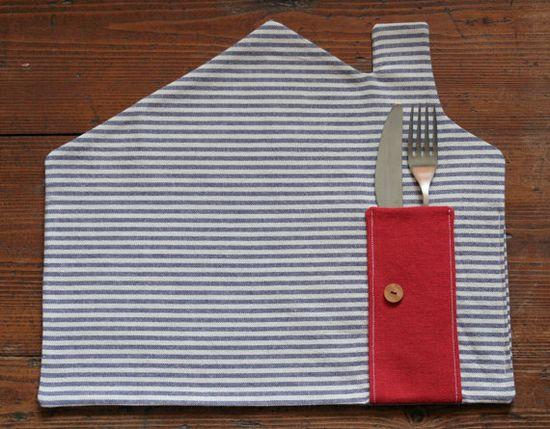 DIY sew l placemat blue