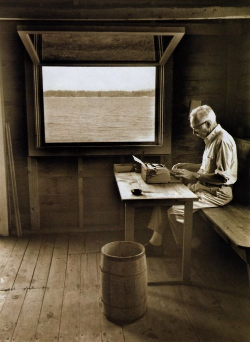 """""""Genius is more often found in a cracked pot than in a whole one.""""  ? E.B. White  (E.B. White in his boathouse in Allen Cove, Maine)"""