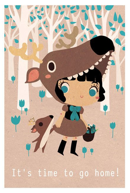 #Illustration #print it's time to go home little deer...