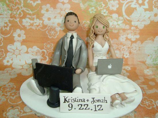 Seated Couple Customized Wedding Cake Toper by mudcards on Etsy. , via Etsy.