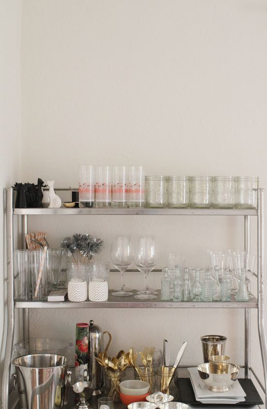 Emily Schuman home tour // vintage bar cart // Cupcakes and Cashmere // photo by Kimberly Genevieve