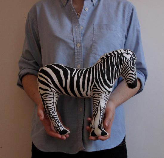 Zebra animal pillow