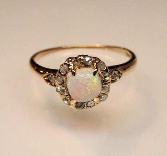 A Lovely Antique Opal and Diamond Ring