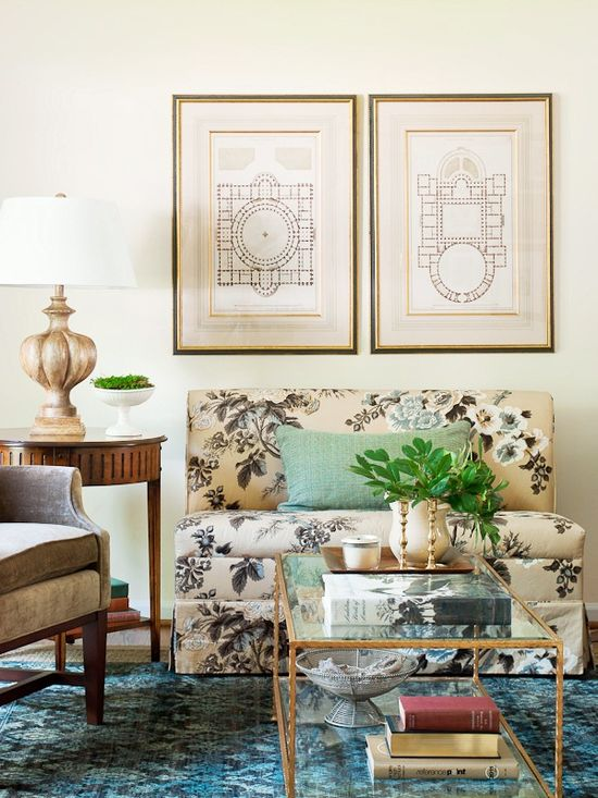 Living room with settee covered in the Schumacher Hollyhock chintz in tobacco from designer Lauren Liess of Pure Style Home blog.