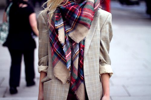 plaid scarf blazer