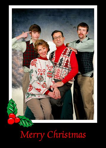 """it would be fun to do an """"ugly tie/sweater"""" christmas shoot for a cool family who wanted a nerdy card"""