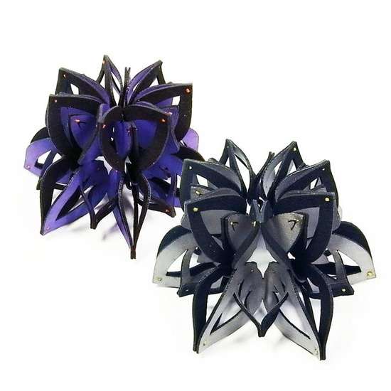 Yu-Ping Lin Textile Jewellery 雨曦織品珠寶 -  2012 -   Silver: Ka14-0L/ Purple: Ka14-1L  Bracelet/ Brooch  Felt, Polyester