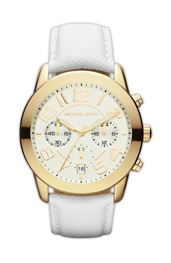 Michael Kors 'Mercer' Chronograph Leather Strap Watch