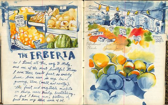 Chris Buchholz is a massively talented illustrator. His travel journals are dreamy. Two lush pages on Erberia.