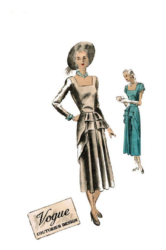 1940s Vogue Couturier Design 379 Dress Pattern by JFerrariDesigns, $95.00