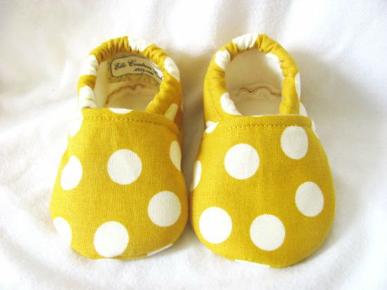 Mustard Yellow Polka Dot Baby Girl Shoes girl by ElleCoutureBaby